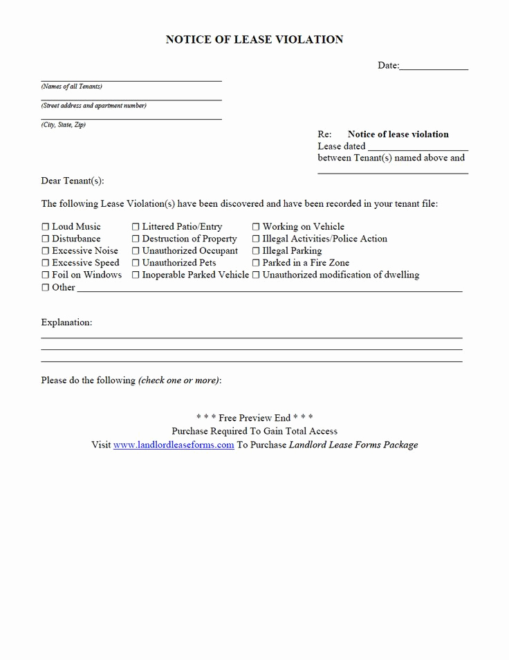 Lease Violation Notice Template Unique Residential Rental Lease Agreement Notice Lease