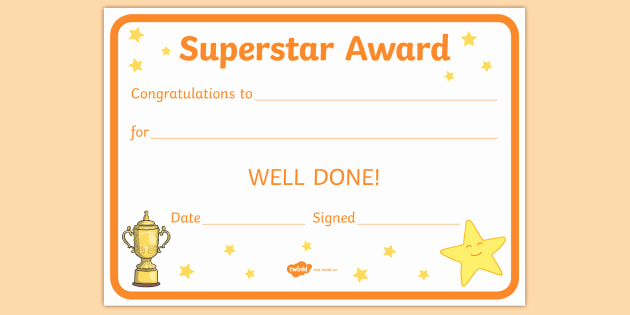 Life Saving Award Certificate Template Awesome Free Superstar Award Certificates Teacher Made