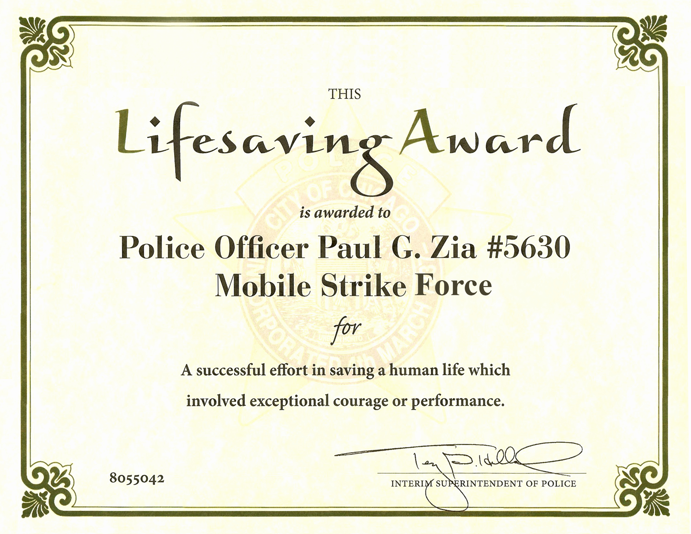 Life Saving Award Certificate Template Beautiful Ribbon Awards Chicagocop