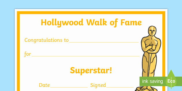 Life Saving Award Certificate Template Elegant Hollywood Walk Of Fame Superstar Certificate Leavers