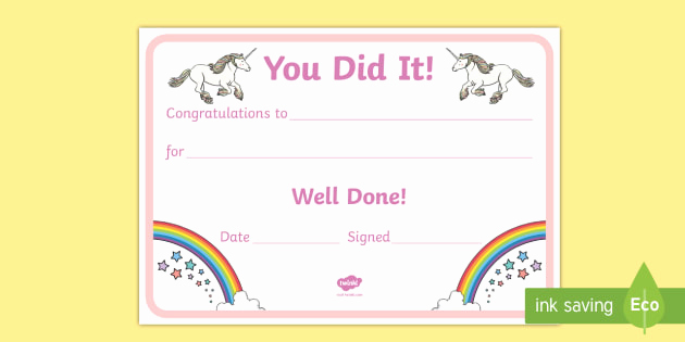 Life Saving Award Certificate Template Elegant Unicorn Certificate Certificates Award Well Done