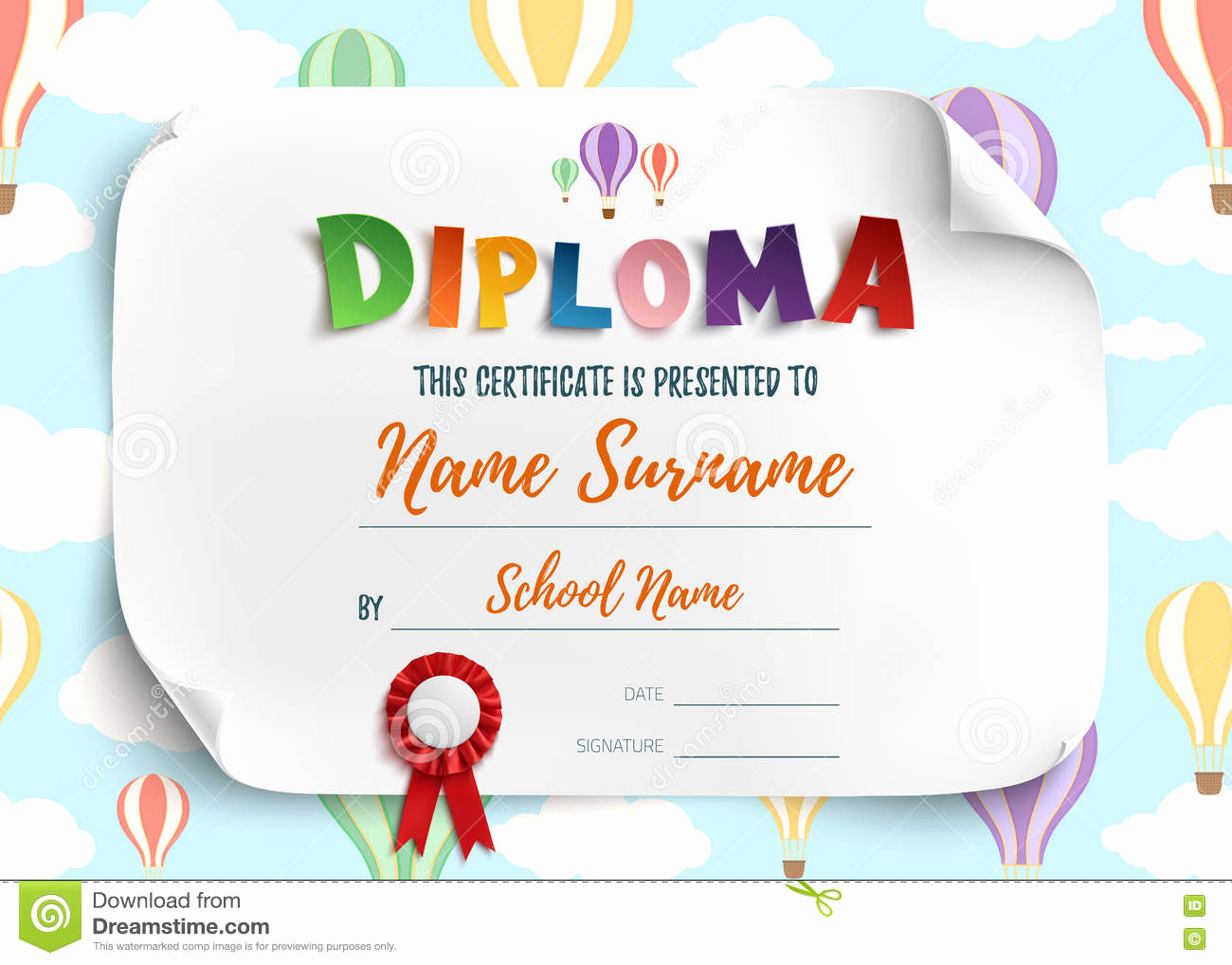 Life Saving Award Certificate Template Fresh Diploma Template for Kids Stock Vector Illustration Of