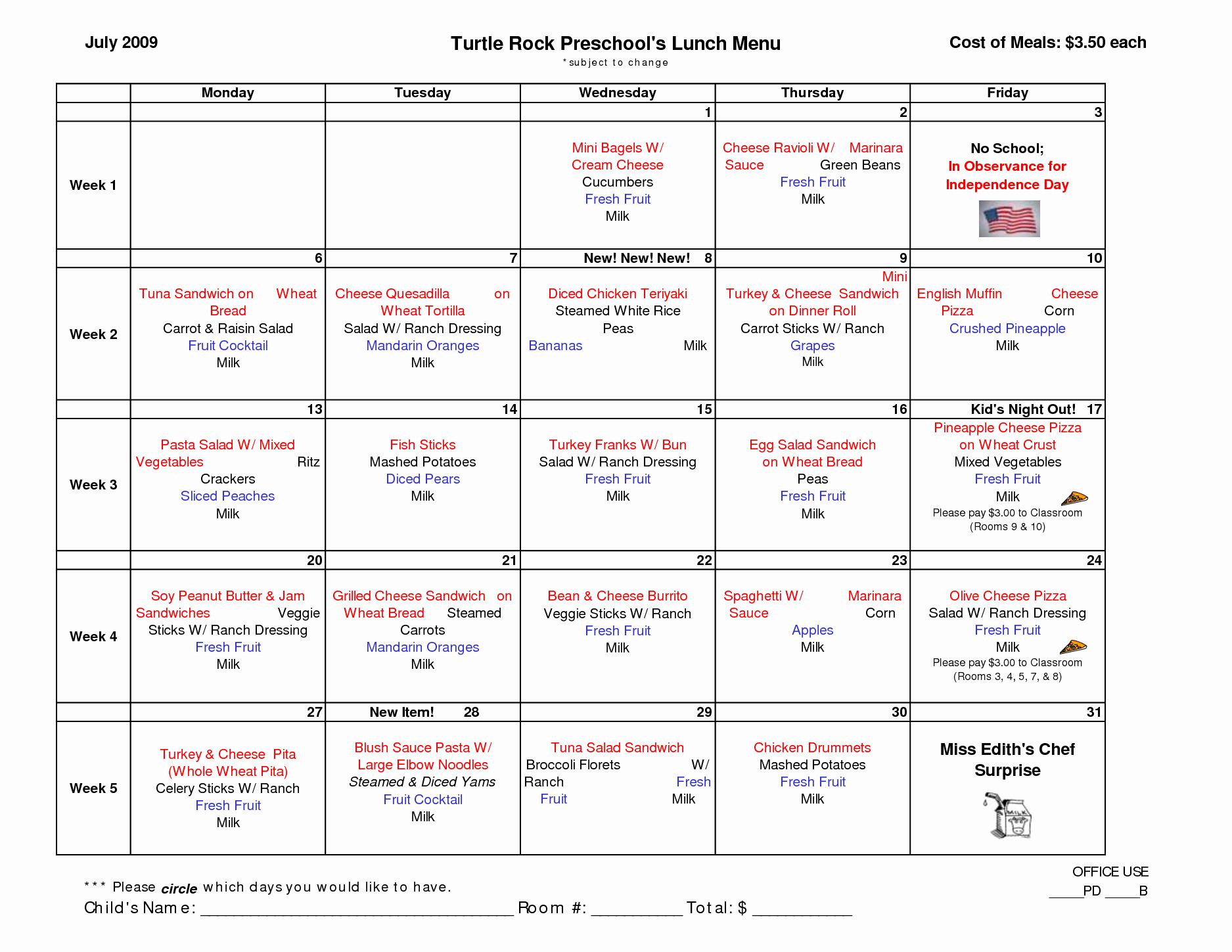 Lunch Menu Template Free Best Of Preschool Lunch Menu Template In 2019