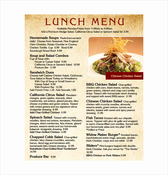 Lunch Menu Template Free Elegant Lunch Menu Template 32 Free Word Pdf Psd Eps