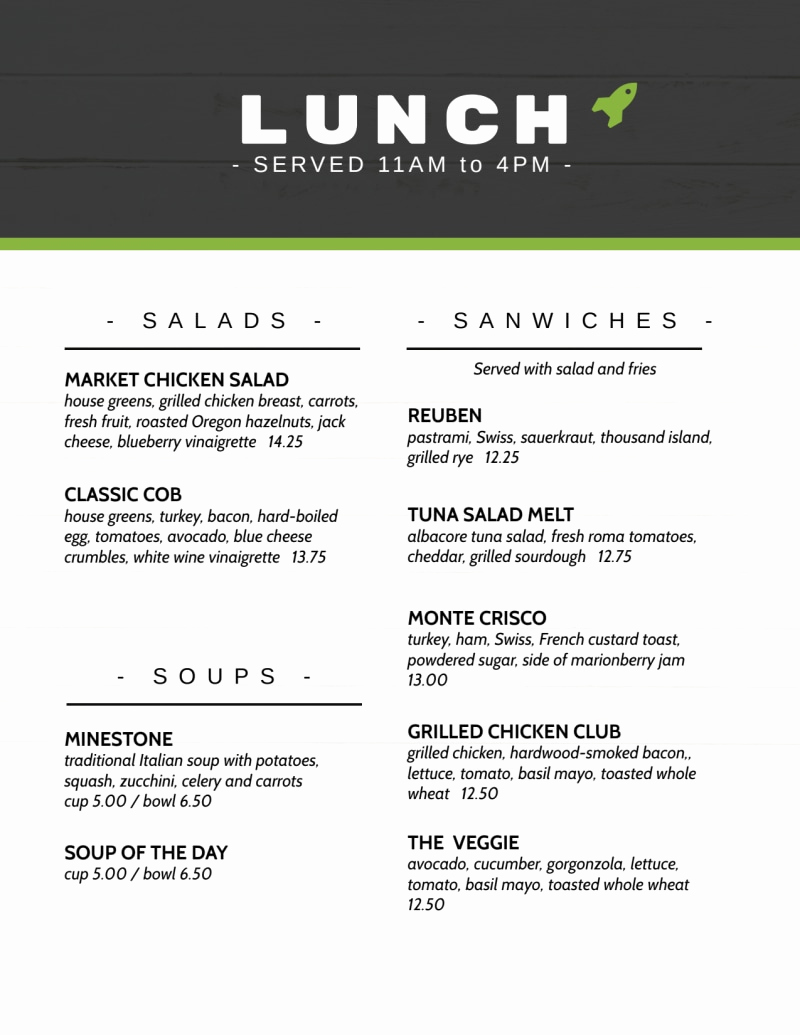 Lunch Menu Template Free Elegant Rocket Lunch Menu Template