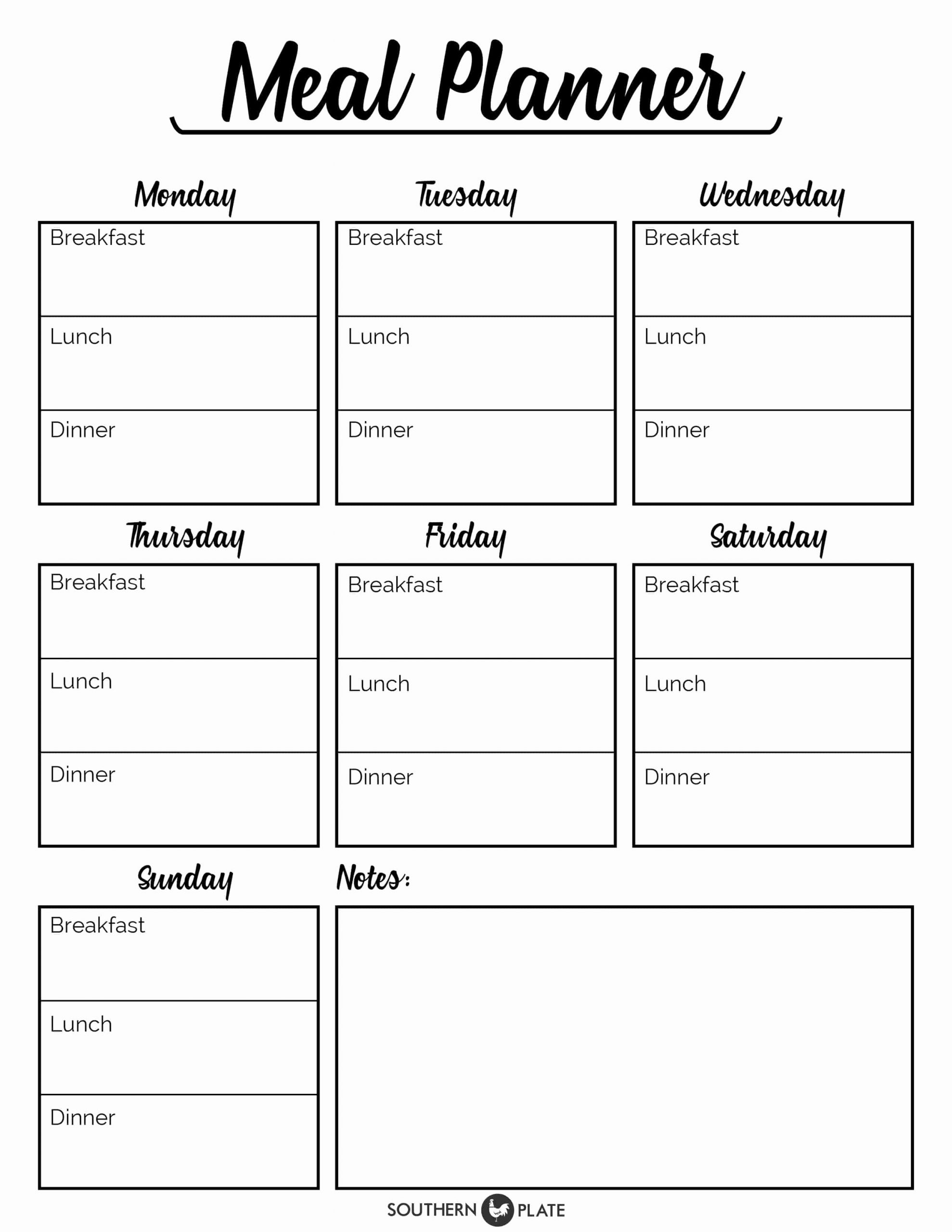 Lunch Menu Template Free Fresh Free Printable Menu Planner Sheet southern Plate