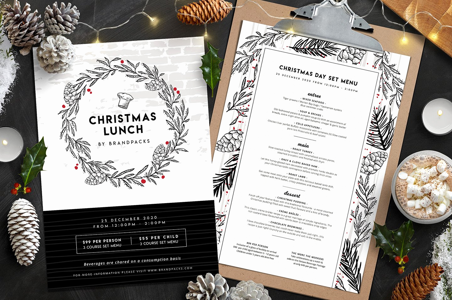 Lunch Menu Template Free Inspirational Christmas Menu Templates Flyer Templates Creative Market