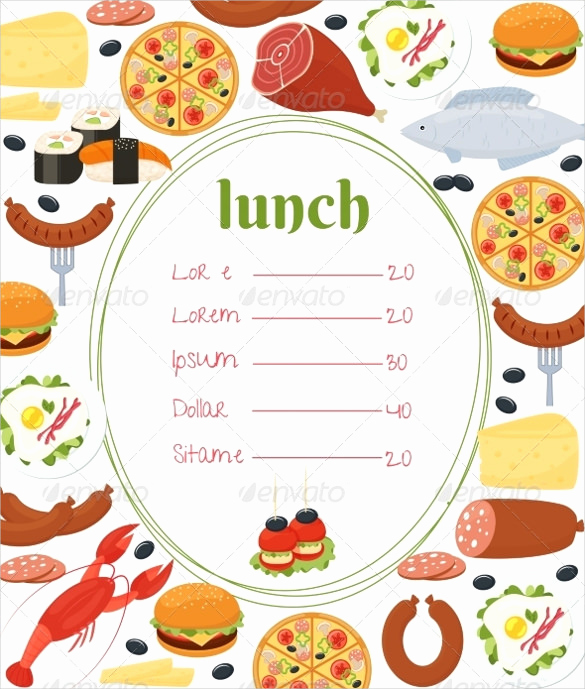 Lunch Menu Template Free Inspirational Lunch Menu Templates 34 Free Word Pdf Psd Eps