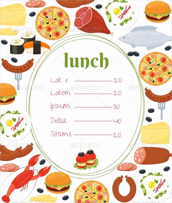 Lunch Menu Template Free Inspirational Lunch Menu Templates 34 Free Word Pdf Psd Eps