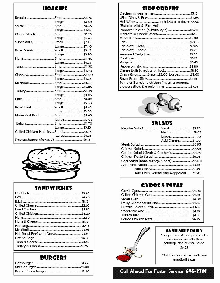 Lunch Menu Template Free Luxury Box Lunch Menu Template