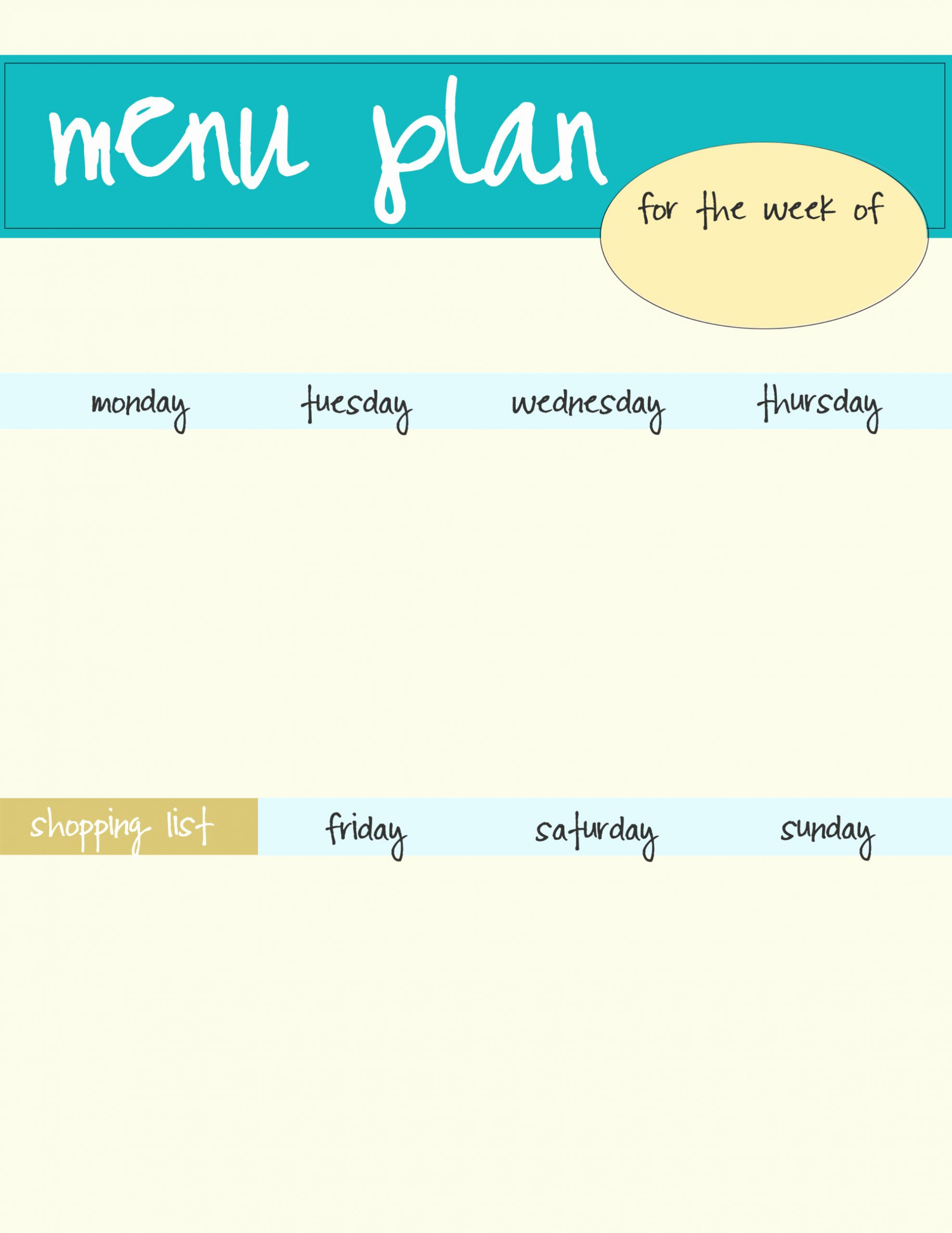 Lunch Menu Template Free New Meal Planning Template Free Download