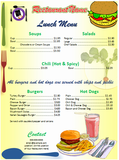 Lunch Menu Template Free New Menu Template Word