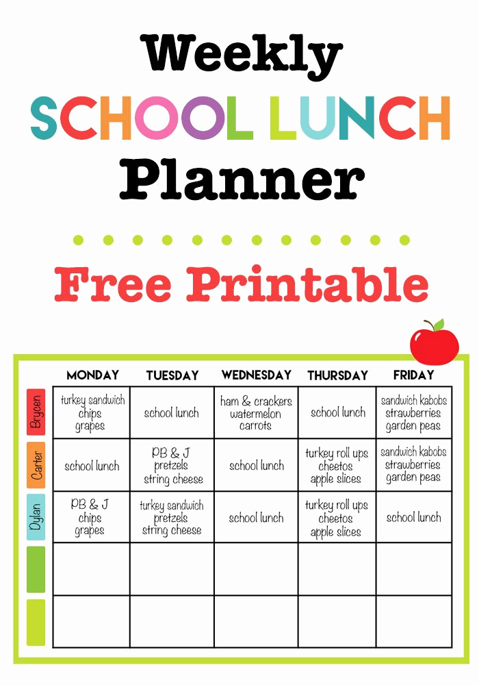 Lunch Menu Template Free New Weekly School Lunch Printable