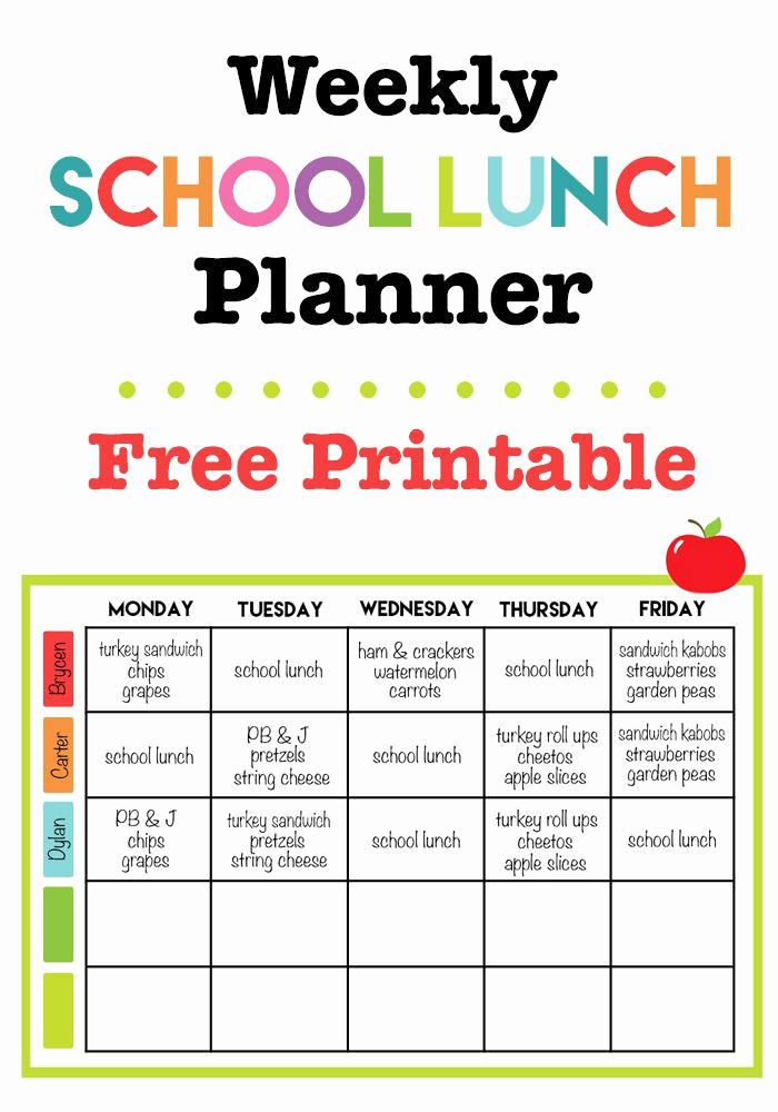 Lunch Menu Template Free New Weekly School Lunch Printable