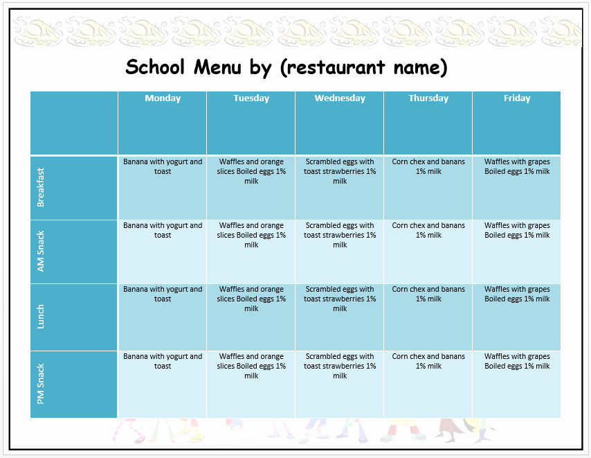 Lunch Menu Template Free New Weekly School Menu Template Word Templates