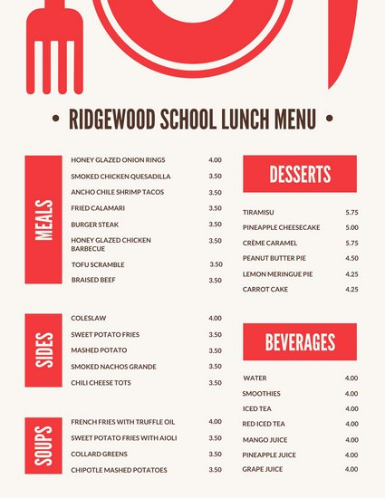 Lunch Menu Template Word Awesome Red Blocks with Icon School Lunch Menu Templates by Canva