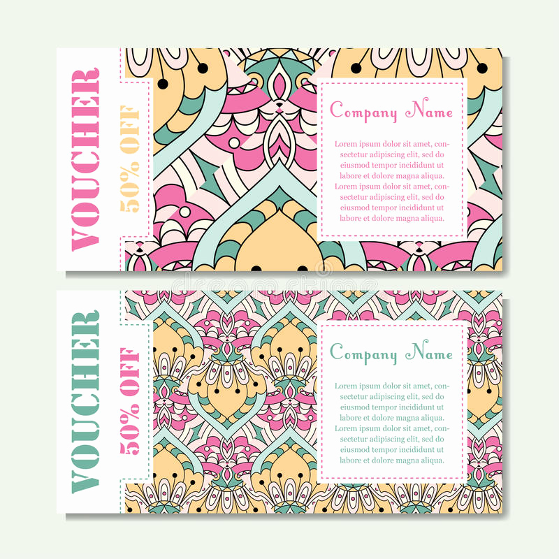 stock illustration t voucher template mandala design certificate sport yoga center magazine etc vector t coupon ornament image