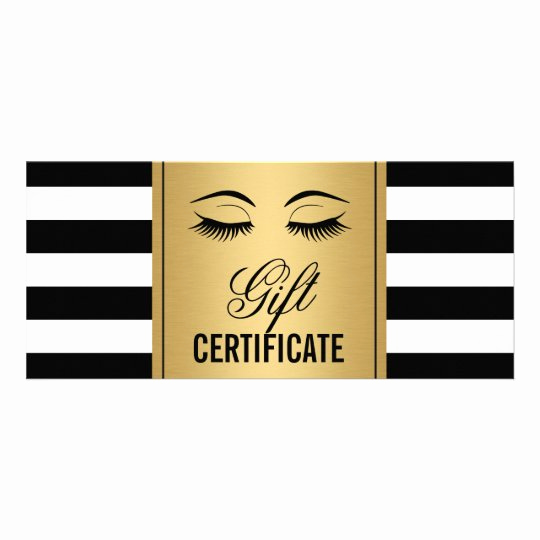 Makeup Gift Certificate Template Beautiful Eyelashes Makeup Gift Certificate Gold B&w Stripes