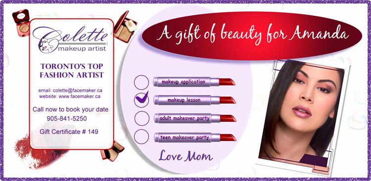 Makeup Gift Certificate Template Best Of Makeup T Certificates toronto Colette Beauty T