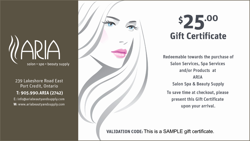 Makeup Gift Certificate Template Inspirational Aria Gift Certificates