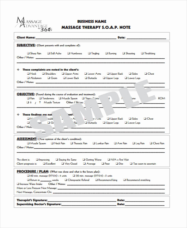 Massage therapy soap Note Template Lovely 25 Sample Note Templates