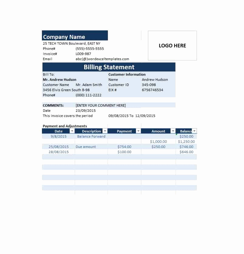 Medical Billing Invoice Template Beautiful 40 Billing Statement Templates [medical Legal Itemized