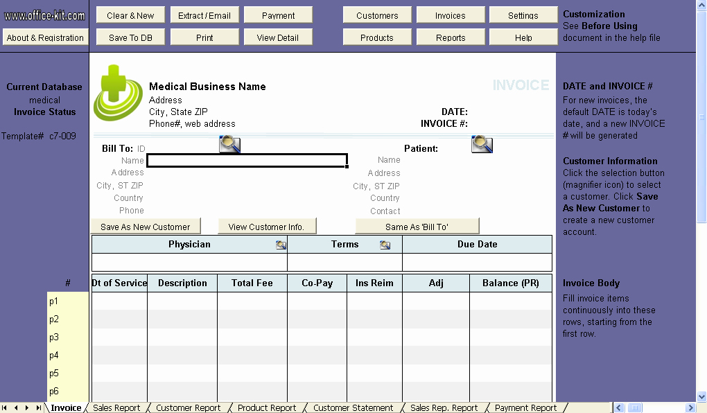Medical Billing Invoice Template Fresh Medical Invoice Template Uniform Invoice software