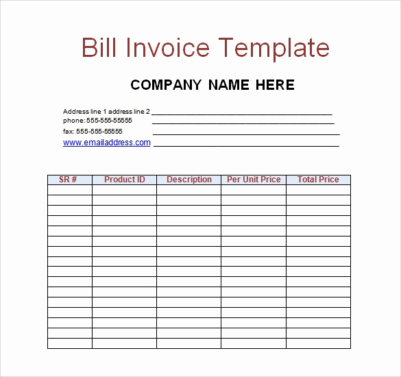 Medical Billing Invoice Template Lovely Free 28 Sample Invoice Templates In Free Sample Example