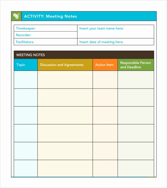 Meeting Notes Template Word Beautiful 7 Free Meeting Minutes Templates Excel Pdf formats