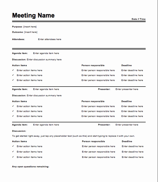 Meeting Notes Template Word Fresh Meeting Action Items Template Word – Kanza