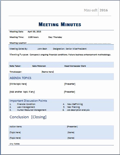Meeting Notes Template Word Luxury Ms Word formal Meeting Minutes Template