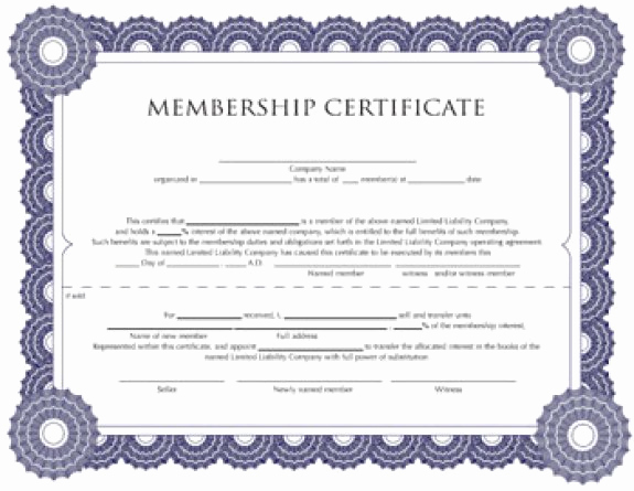 Membership Certificate Llc Template Fresh Membership Certificate Templates Word Excel Samples