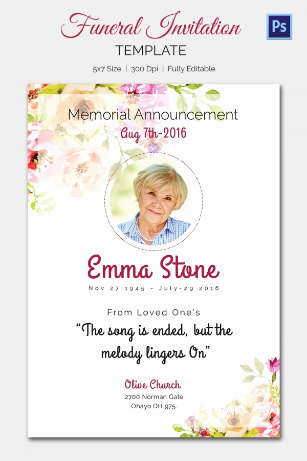 Memorial Service Announcement Template Free Beautiful 15 Funeral Invitation Templates – Free Sample Example