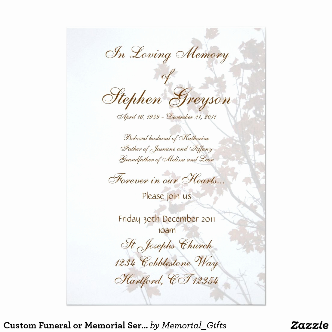 "Memorial Service Announcement Template Free Beautiful Custom Funeral or Memorial Service Announcement 5"" X 7"