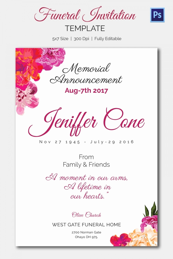 Memorial Service Announcement Template Free Beautiful Funeral Invitation Template – 12 Free Psd Vector Eps Ai