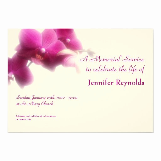 "Memorial Service Announcement Template Free Best Of Memorial Service Announcement 5"" X 7"" Invitation Card"
