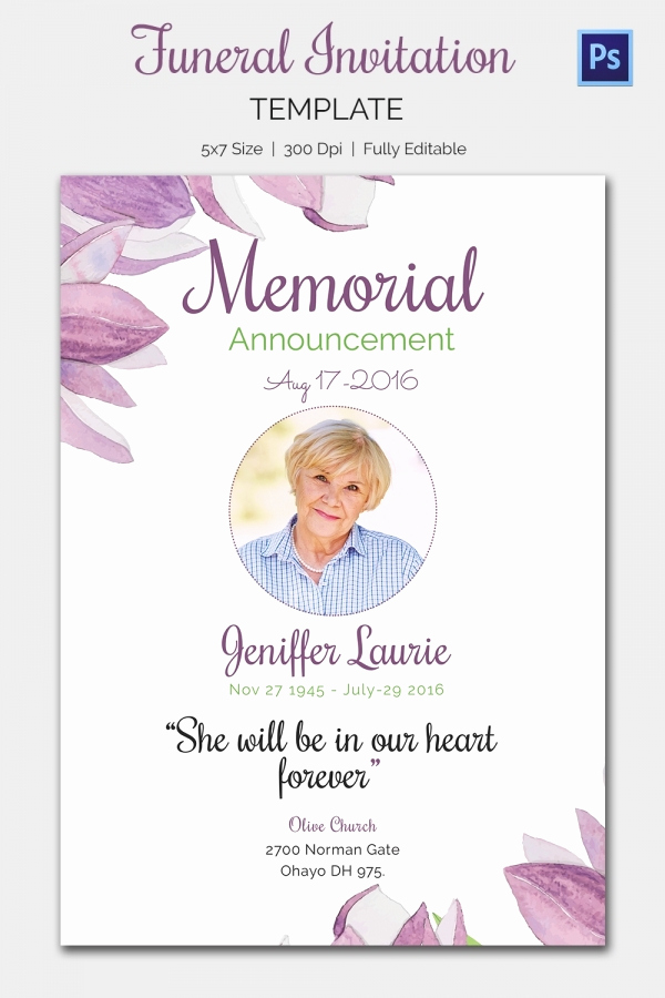 Memorial Service Announcement Template Free Elegant Funeral Invitation Template – 12 Free Psd Vector Eps Ai