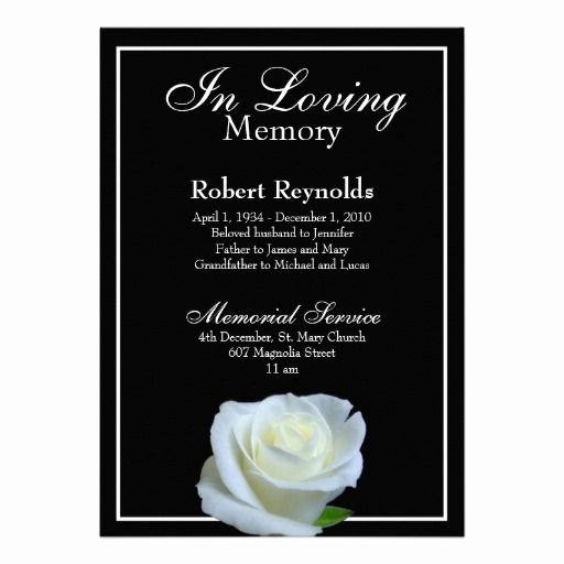 Memorial Service Announcement Template Free Elegant Memorial Announcement Zazzle