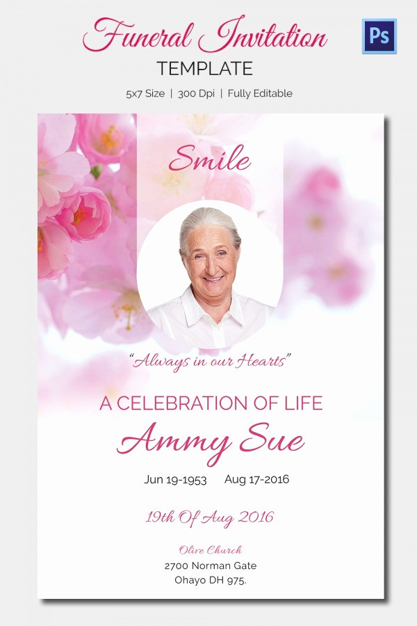 Memorial Service Announcement Template Free Fresh 15 Funeral Invitation Templates – Free Sample Example