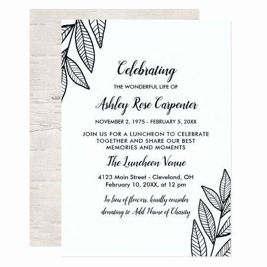 Memorial Service Announcement Template Free Inspirational Leaves & Calligraphy Celebration Of Life Memorial