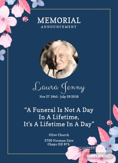 Memorial Service Announcement Template Free Luxury Free Memorial Service Announcement Invitation Template In