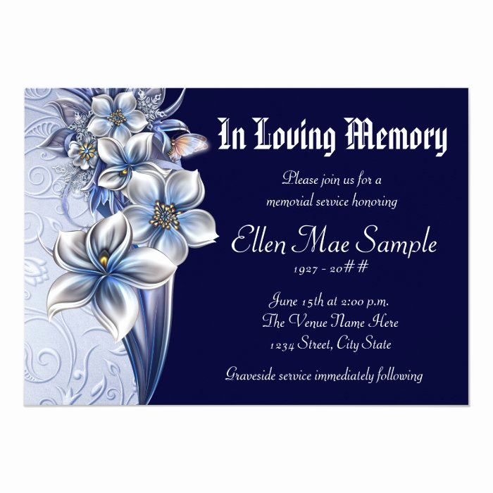 Memorial Service Announcement Template Free New Elegant Blue Memorial Service Announcements
