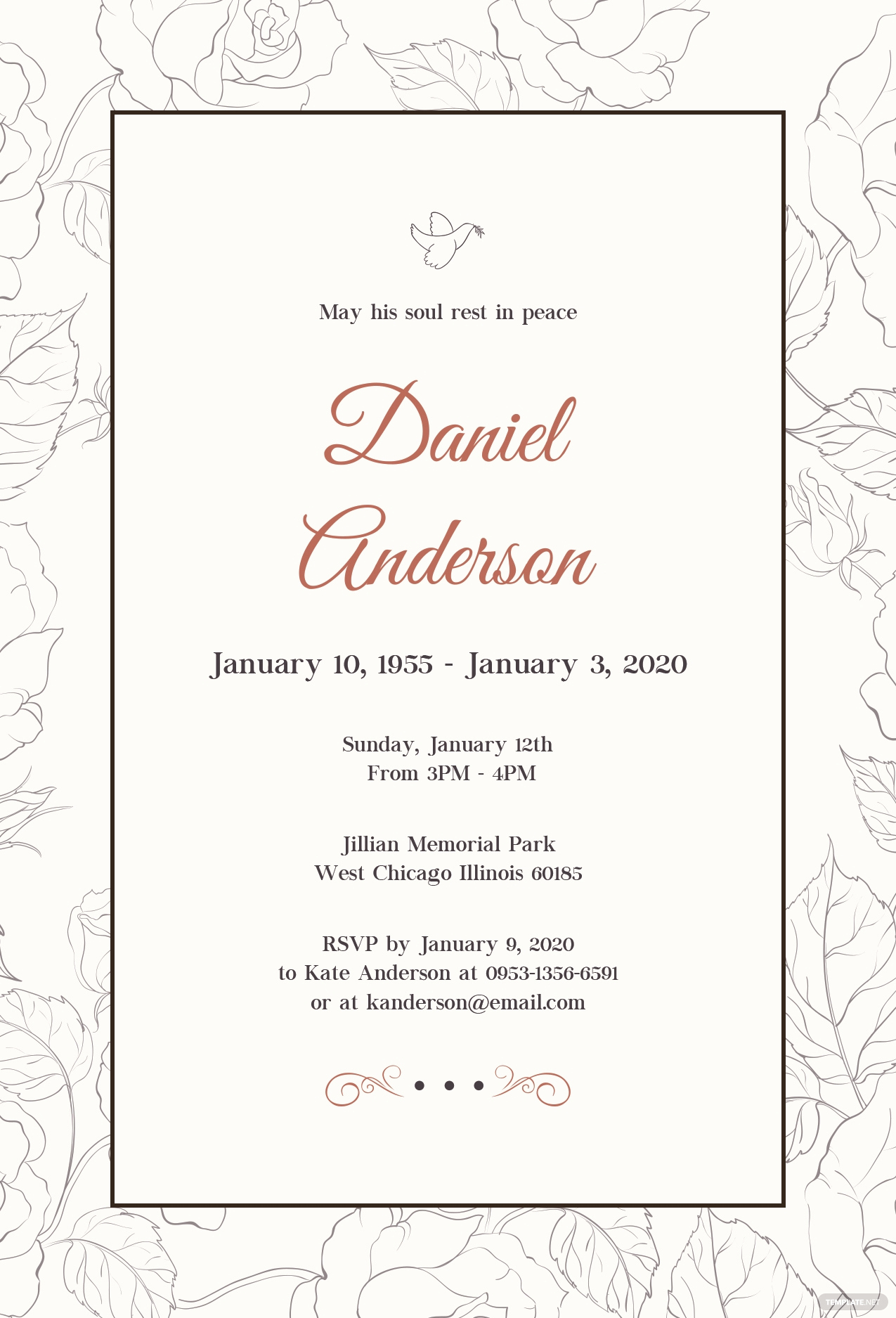 Memorial Service Announcement Template Free New Free Simple Funeral Invitation Template In Psd Ms Word