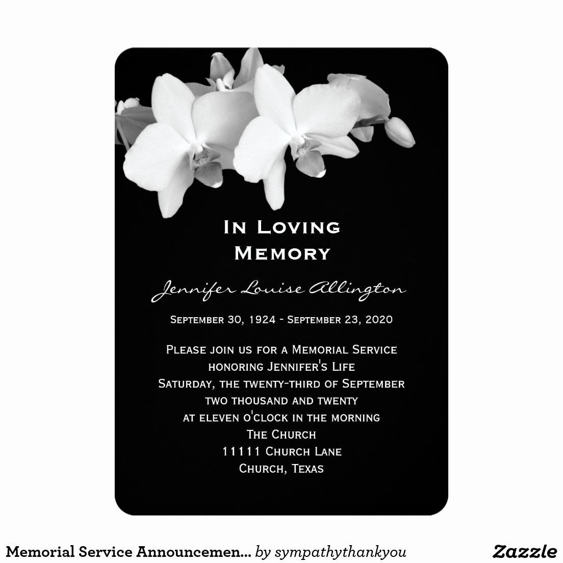 Memorial Service Announcement Template Free New Memorial Service Announcement orchids