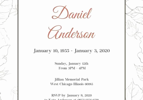 Memorial Service Announcement Template Free Unique Free Funeral Invitation Templates