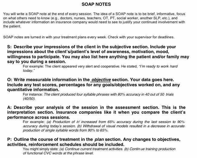 Mental Health soap Note Template Elegant Sample Occupational therapy soap Note Google Search