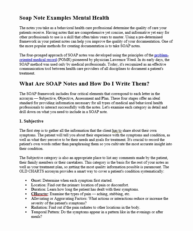 Mental Health soap Note Template Inspirational 10 Amazing soap Note Examples Calypso Tree