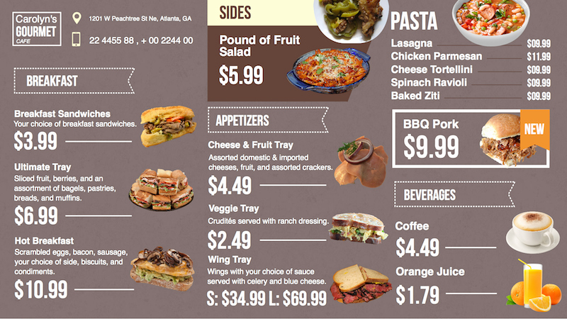 Menu Board Template Powerpoint Beautiful Digital Menu Board App now Available for Enplug