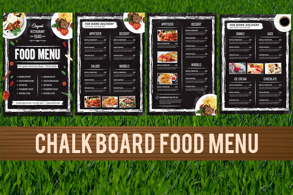 Menu Board Template Powerpoint Luxury Chalkboard Food Menu Flyer Templates Creative Market