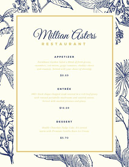 Menu Design Ideas Template Awesome Blue and Gold Floral Elegant Menu